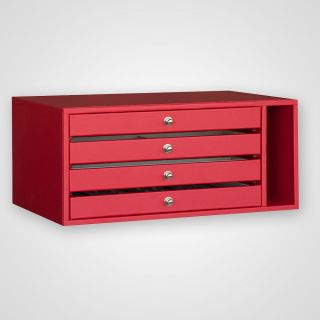Drawer module with 4 drawers in leatherette frame