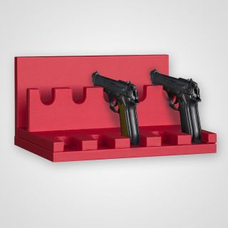 Gun mounting for 5 guns, width: 357 mm in leatherette frame