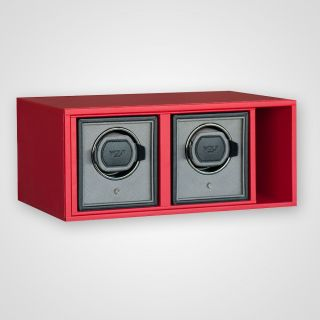 Watch winder module for 2 watches with drawer in leatherette frame